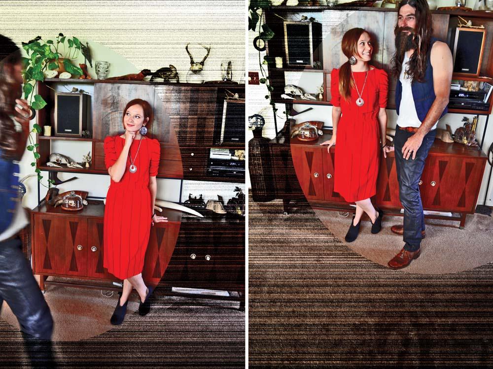 red striped dress and denim vest