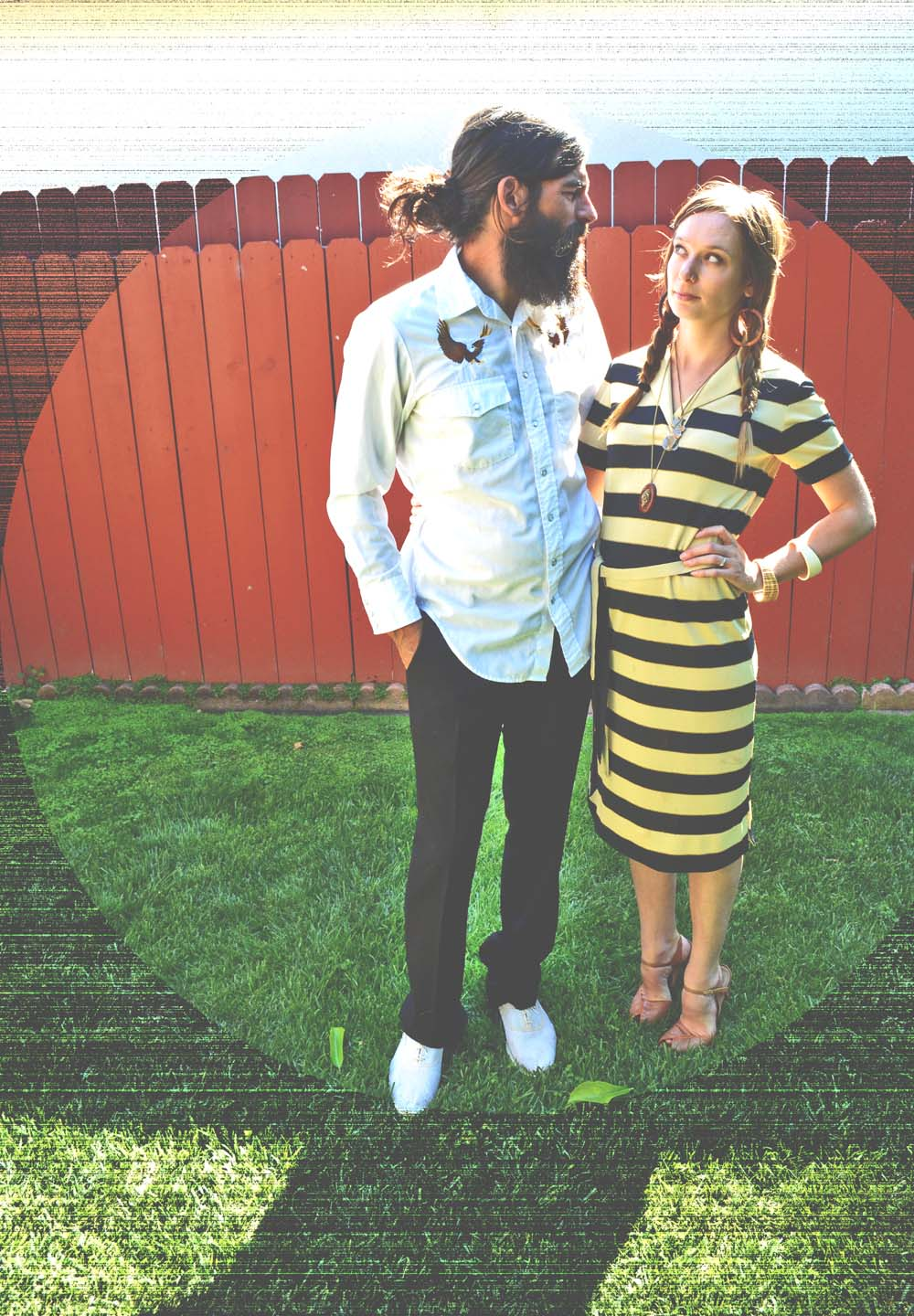 striped dress and western shirt