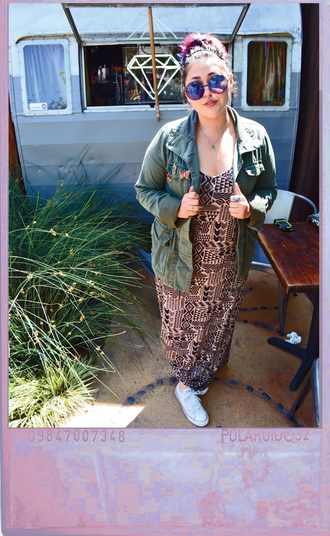 aztec dress and militant jacket