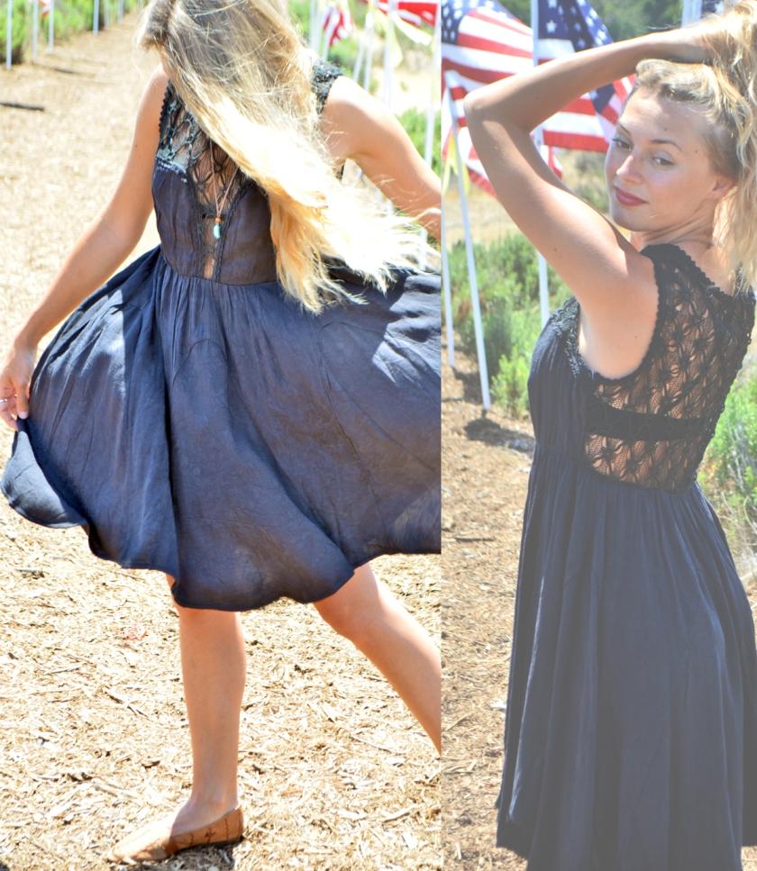 summer boheme black krochet dress