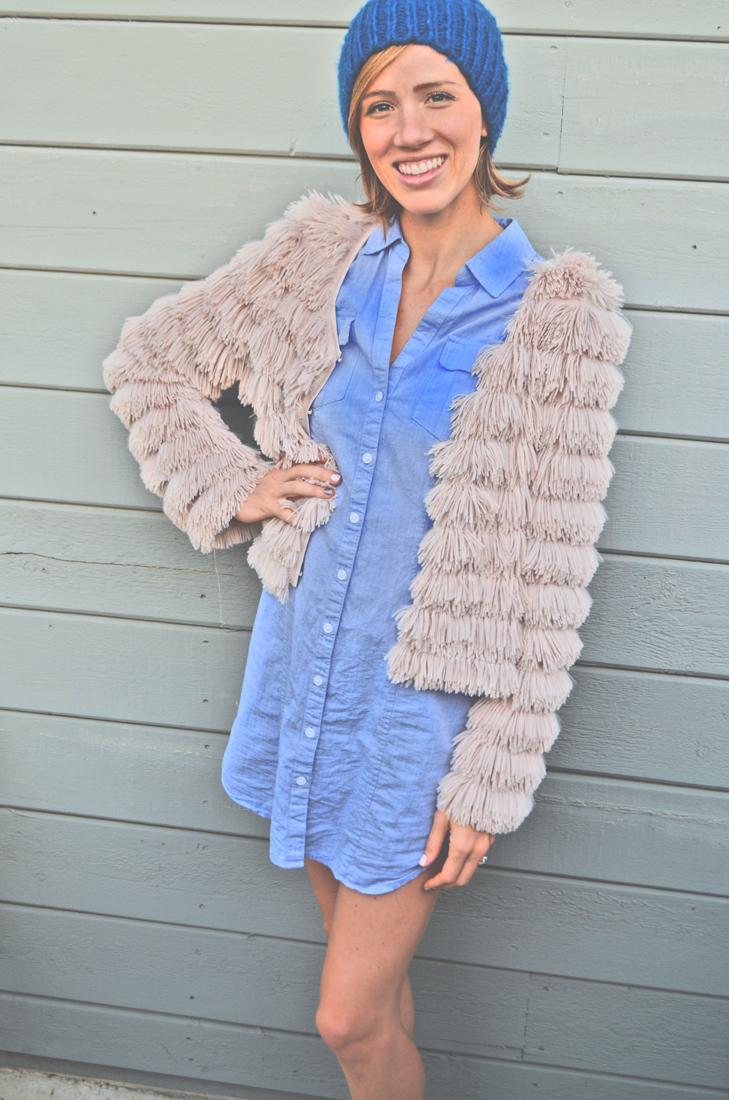 Blush fringe jacket